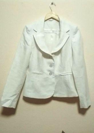 F&f. пиджак лен 100% жакет белый пиджак