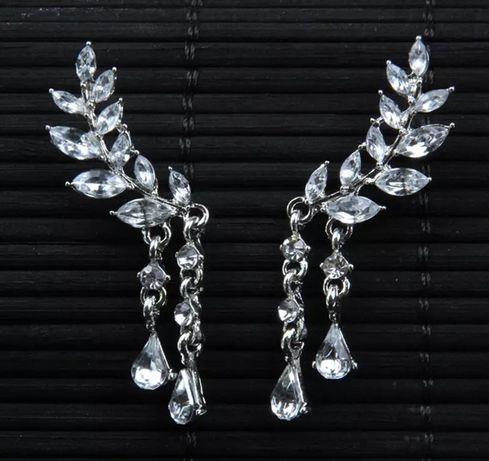 Kolczyki ślubne ślub biżuteria ślubna kryształki srebrne