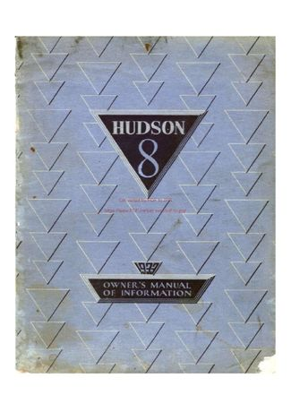 Samochody 1933 Hudson 8 Owners Manual