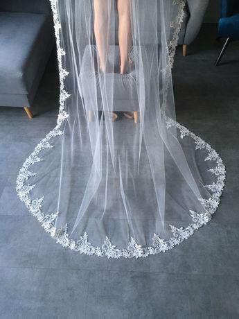 Welon ślubny długi 270 cm koronka