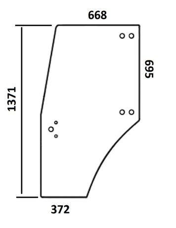 Szyba drzwi lewe DEUTZ SAME LAMBORGHINI 0.009.7700.0/50