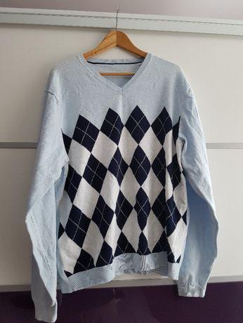Sweter męski w romby elegancki święta rozm. XL