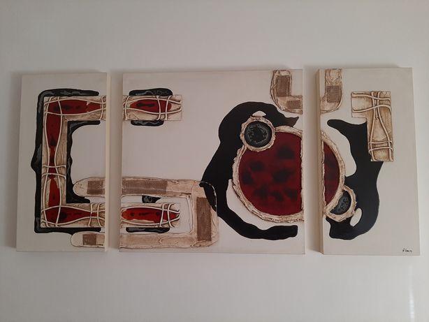 Quadro - 3 telas pintadas à mão