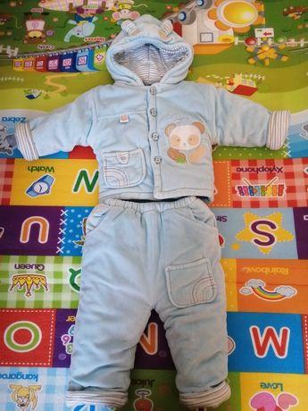 Gruby Kombinezon zimowy kurtka i spodnie 9-12 miesięcy