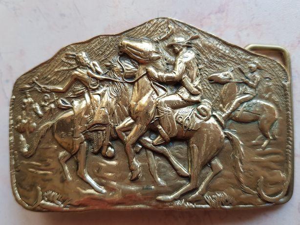 Sprzączka do paska western konie mustang jeździectwo. 6x9cm.
