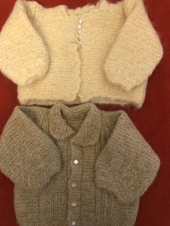 2 casacos lã 0/3 meses estrear feitos a mao