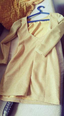 Złota sukienka mini wycięte plecy Sylwester impreza