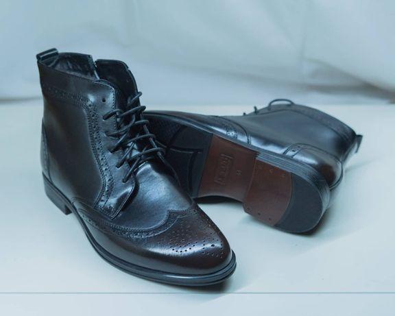 Шкіряні зимові черевики + натуральне хутро! Ботинки Броги оксфорды