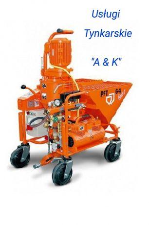 Tynki maszynowe gipsowe, cementowo-wapienne Firma A&K Glinkowski A.