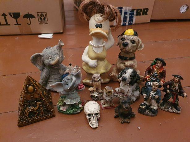 Figurki ceramiczne różne kaczka pies pirat czaszka słonik słoń Sowa