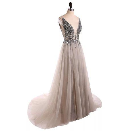 Suknia wysadzana kryształkami na studniówkę,ślub, poprawiny, sylwestra