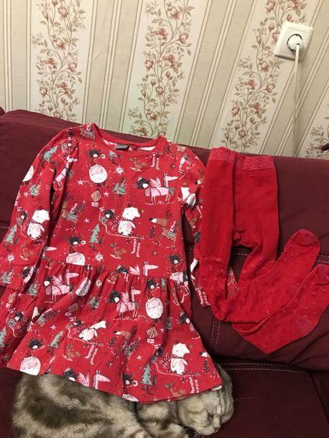 Новогодние платье next h&m george колготки красные