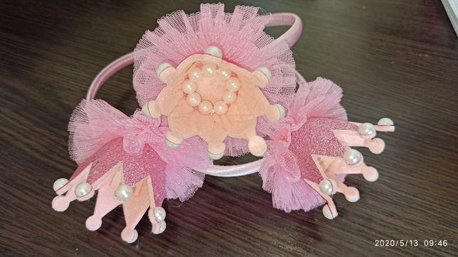 Обруч Корона розовый и бирюзовый цвет