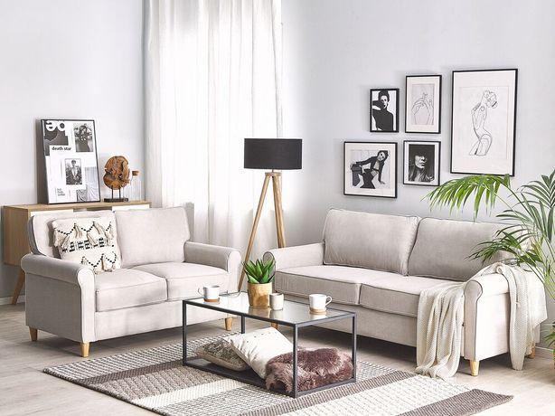 Conjunto de sofás em veludo creme claro RONNEBY - Beliani