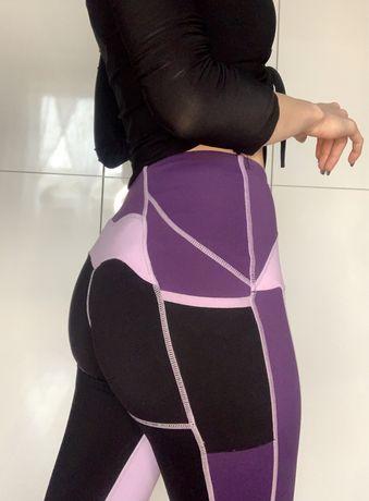 legginsy gymshsrk liliowe fioletowe czarne ćwiczenia na siłownię XS S
