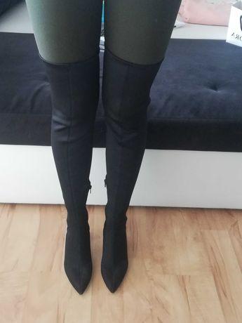 Buty Zara woman czarne muszkieterki mega długie r. 39