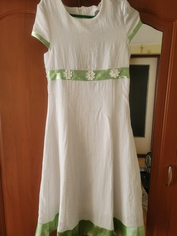 Sukienka r.146 len +bawełna