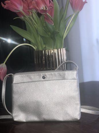 Reserved torebka listonoszka srebrna