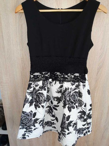 Sukienka na studniówkę lub wesele czarno/biała