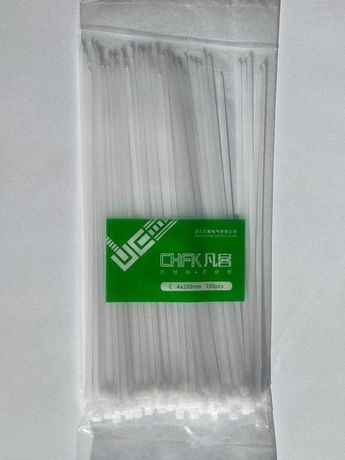 Кабельний Хомут CHFK нейлоновий 4 * 200, ширина 2,6 мм,100 шт Белый