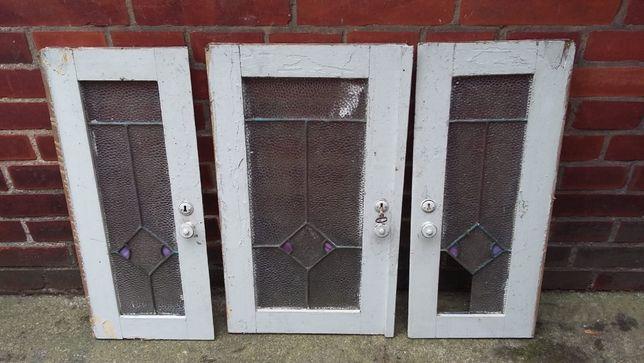 Przedwojenny bufet - drzwiczki 3 sztuki - do renowacji
