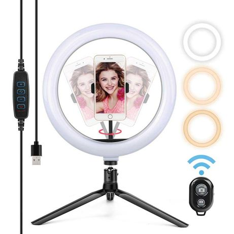Anel luz para fotografia e video ring light 25cm + tripé e comando