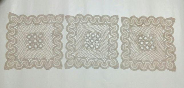Conjunto 3 naprons de renda crochet antigos