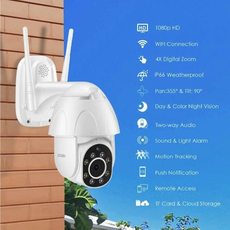 ZOSI ZND350W2 IP-камера, 1080P, PTZ, 2 Мп, 4х зум, автотрекинг