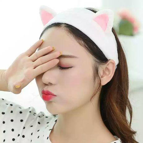 Косметическая повязка-резинка на голову с ушками