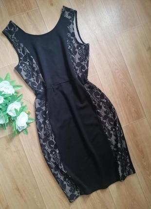 Платье по фигуре Etam чёрное с гипюром