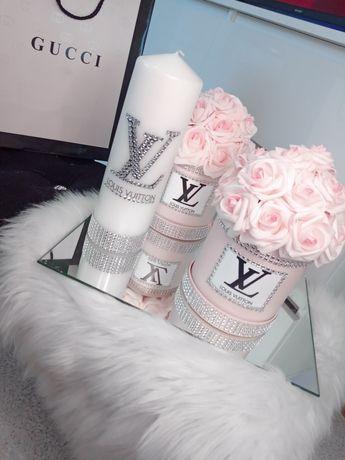 Flower box Chanel Louis Vuitton versace glamour cyrkonie Swarovski