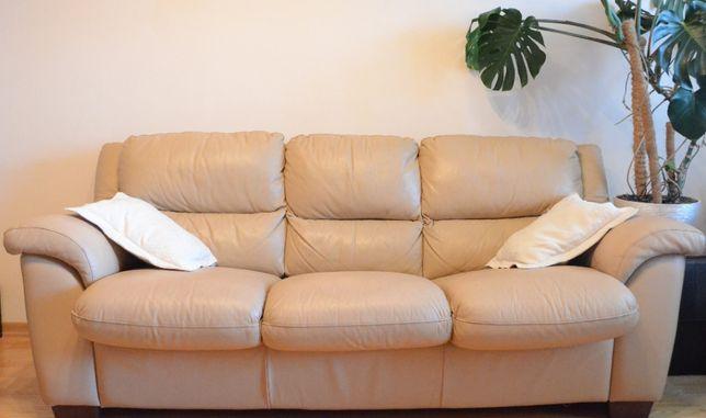 Шикарный кожаный диван итальянский раскладной бежевый двухспальный б/у