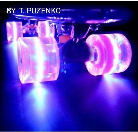 Скейтборд Пенни борд Penny board пениборд ПУ со светятящимися колесами
