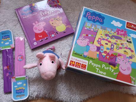 Zestaw peppy świnka peppa pig gra party Time maskotka książka dvd