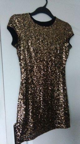 Złota cekinowa sukienka XS S