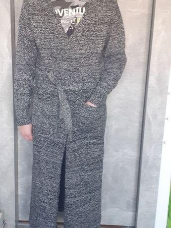 Długi płaszcz sweter biało-czarny dzianina Nowy rozmiar M/L