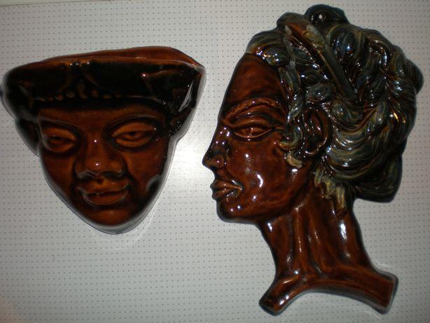 одним лотом две ретро керамические настенные фигуры-лица.ссср.