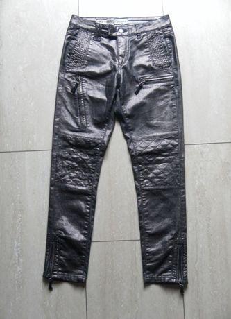 PIESZAK metaliczne firmowe spodnie 36,S srebrne