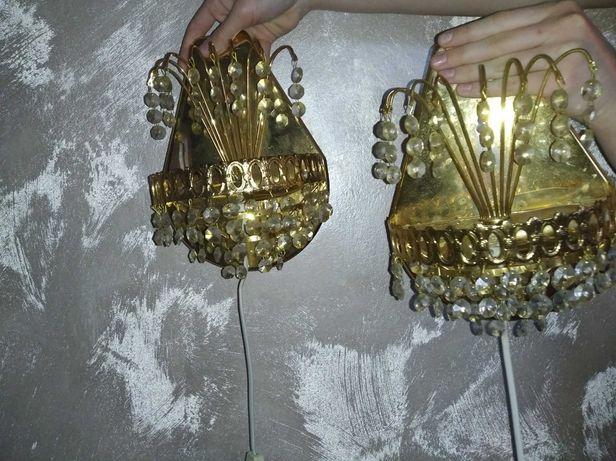 Dwa kinkiety  kryształowe    - lampki