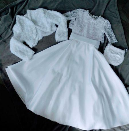 Sukienka komunijna + 2 bolerka + torebka