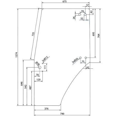Szyba drzwi lewe Deutz-Fahr Agroplus 100, 60, 67, 70, 75, 77 ACX603