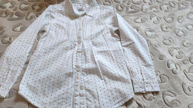 Bluzka galowa apel koszulowa  serduszka wywijane rękawy Smyk r.140