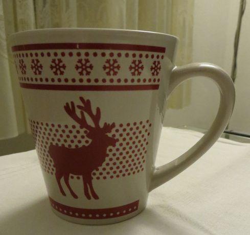 Caneca Siaki, c/ Renas, em cerâmica, bege e vermelha