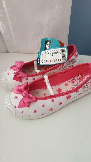 Tenisówki 29 różowe kokardki kropki pantofle przedszkole wsuwane