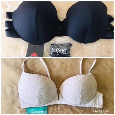 Bikinis parte cima NOVOs c etiqueta-Oysho e Calzed preto-M e branco-S