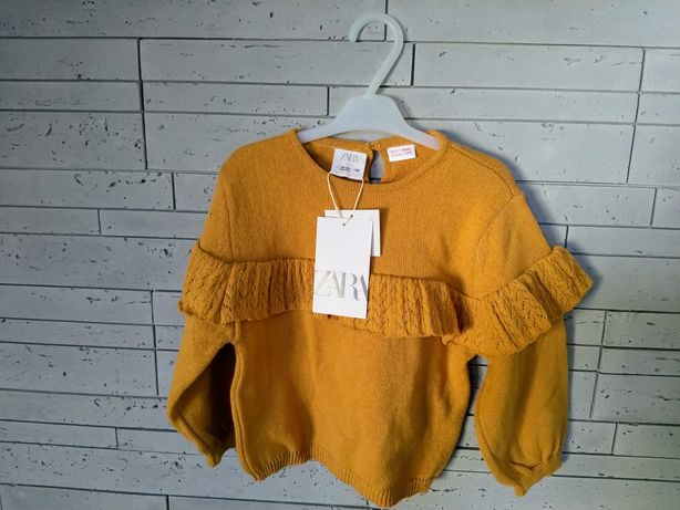Zara sweterek z dzianiny z falbanka orchowy NOWY 92