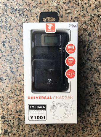 Carregador universal de baterias com LCD (Máquina fotográfia/tlm/etc)