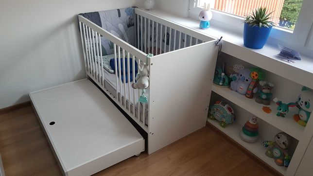 Klupś łóżeczko 120x60 z pojemnikiem DALIA GREY + MATERAC marki HEVEA