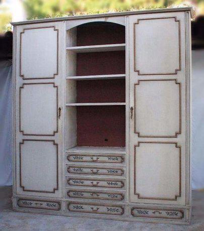 Vendo armário / estante em mogno e engradado lacado e pintado à mão