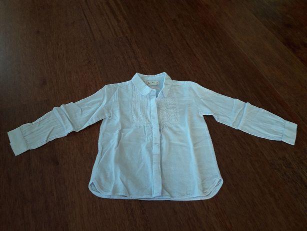 Koszula dziewczęca jasny szaro-niebieski ZARA r. 110.
